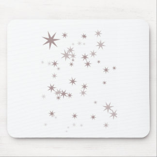 Scattered Silver Faerie Stars Mouse Pad