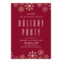 Scattered Snowflakes Holiday Party Invitation