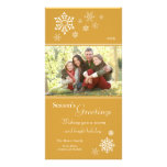 Scattered Snowflakes Holiday Photocard (gold) Photo Card