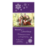 Scattered Snowflakes Holiday Photocard (purple) Photo Card