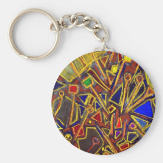 Scattered Stationery (abstract expressionism ) Keychain
