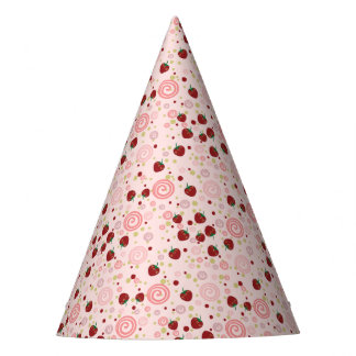 Scattered Strawberry Swirl Pattern Party Hat