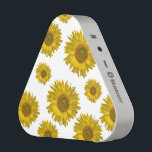"""Scattered Sunflowers Speaker<br><div class=""""desc"""">Listen to your tunes in style with the pretty Scattered Sunflowers Pieladium Speaker.  This cute and custom flowery portable music speaker features yellow sunflower blossoms with white background. It makes a great botanical gift idea for a flower lover,  gardener or florist.</div>"""