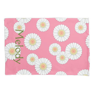 Scattered White Daisies Monogram Pink Pillow Case