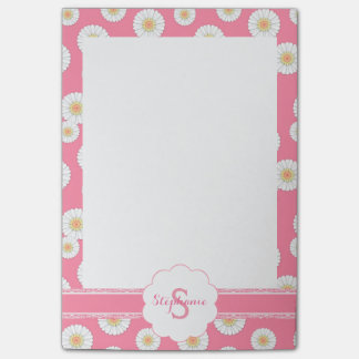Scattered White Daisies on Pink Monogrammed Notes