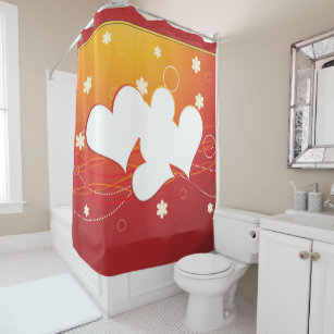 Scattered White Hearts Flowers On Red Gold Shower Curtain