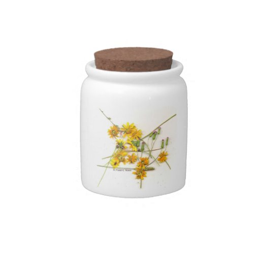 Scattered wildflowers in yellow and white candy dish