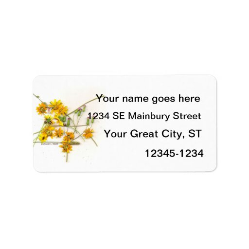 Scattered wildflowers in yellow and white address label