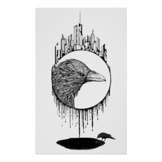 Scavenger, abstract bird ink drawing poster