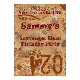 "Scavenger Hunt Birthday Invite 5"" X 7"" Invitation Card"