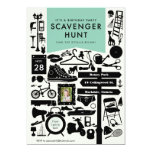 Scavenger Hunt Birthday Party Invitation // Aqua