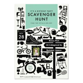 "Scavenger Hunt Birthday Party Invitation // Aqua 5"" X 7"" Invitation Card"
