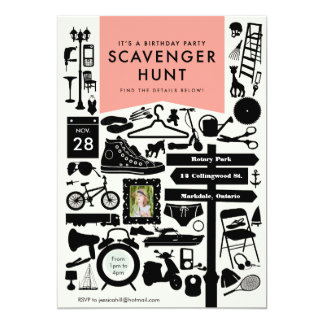 "Scavenger Hunt Birthday Party Invitation // Pink 5"" X 7"" Invitation Card"