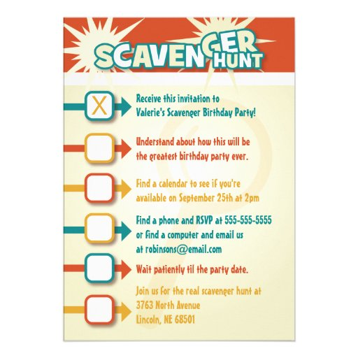Personalized scavenger hunt party invitations custominvitations4u scavenger hunt invitation filmwisefo