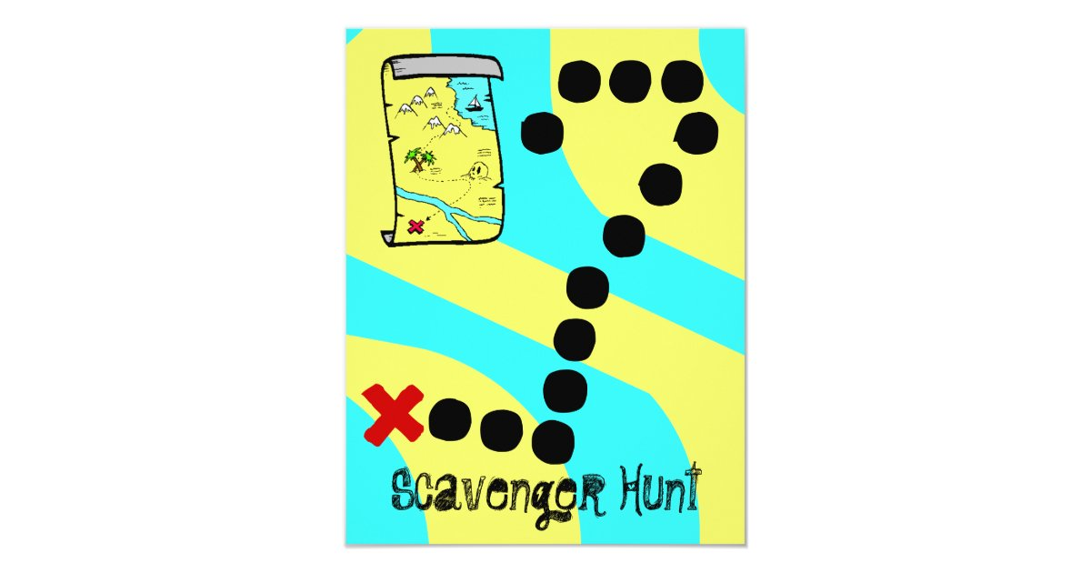 Scavenger Hunt Map Party Theme Invitations Zazzle Com