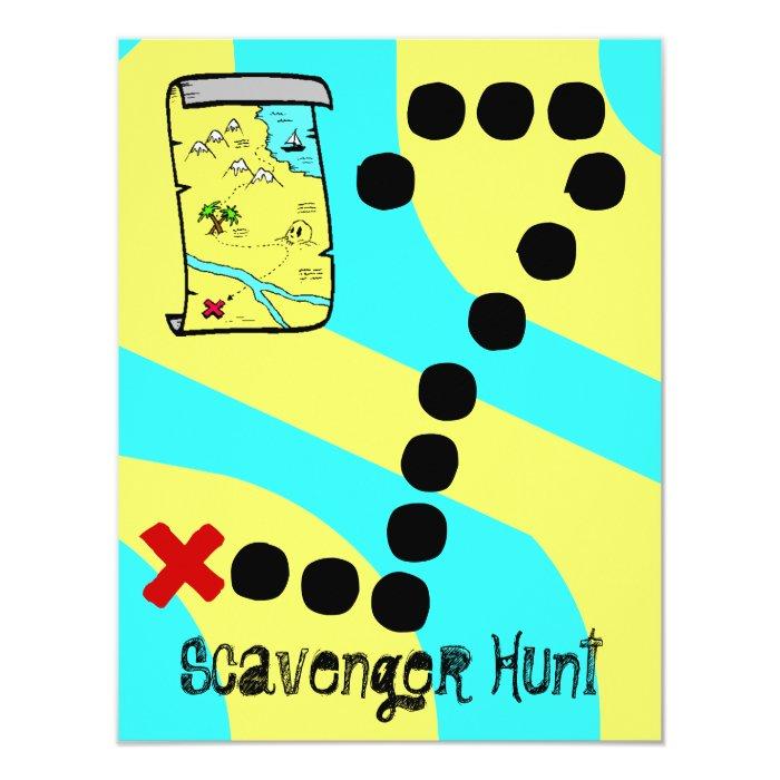 Scavenger Hunt Map Party Theme Invitations   Zazzle