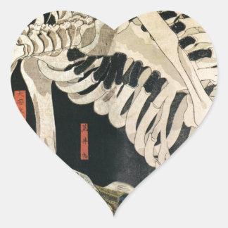 Sceleton by Utagawa Kuniyoshi Heart Sticker