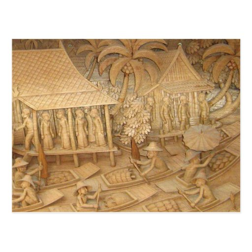 Scene 2 of wood sculpture of Thai life Postcard