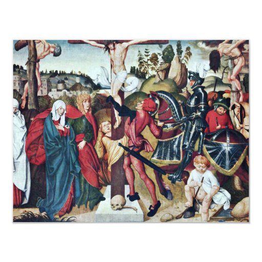 Scene Aggsbach Altar: Crucifixion By Breu D. Ä. Jö 4.25x5.5 Paper Invitation Card