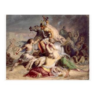 Scène de bataille, guerrier gaulois à cheval postcard