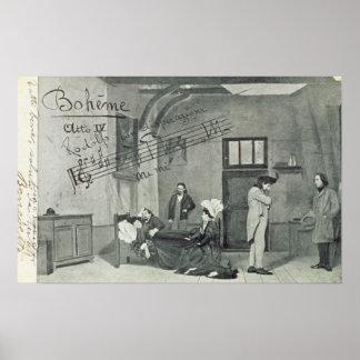 Scene from Act IV of the opera 'La Boheme' Print