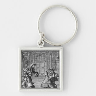 Scene from 'Le Misanthrope' Silver-Colored Square Keychain