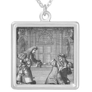 Scene from 'Le Misanthrope' Square Pendant Necklace