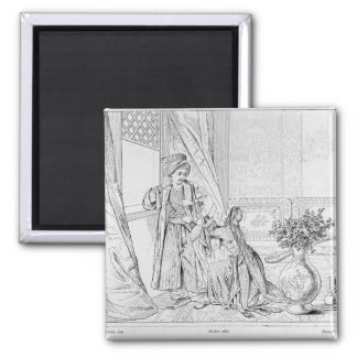 Scene from The Bride of Abydos by Lord Byron 2 Inch Square Magnet