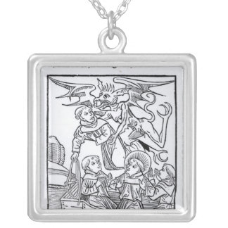 Scene from 'The Navigation of St. Brendan' Square Pendant Necklace