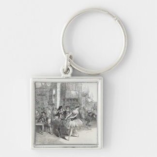 Scene from the new Ballet of 'The Wags of Silver-Colored Square Keychain