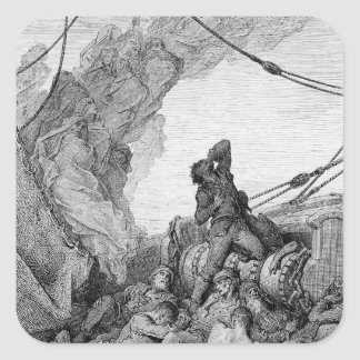 Scene from 'The Rime of the Ancient Mariner' 3 Square Sticker