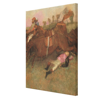 Scene from the Steeplechase: The Fallen Canvas Print