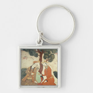 Scene galante from the era of Shah Abbas I Silver-Colored Square Keychain