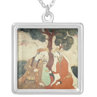 Scene galante from the era of Shah Abbas I Silver Plated Necklace