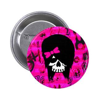 Scene Girl Skull Button