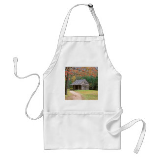 Scene Historic Log Cabin In Smoky Adult Apron