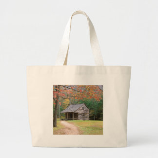 Scene Historic Log Cabin In Smoky Canvas Bags