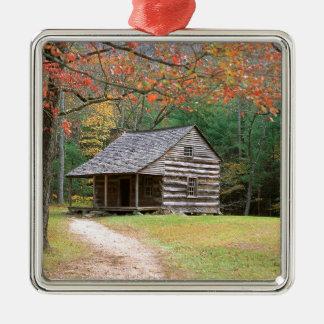 Scene Historic Log Cabin In Smoky Metal Ornament