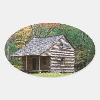 Scene Historic Log Cabin In Smoky Oval Sticker