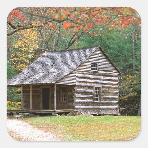 Scene Historic Log Cabin In Smoky Square Sticker Zazzle