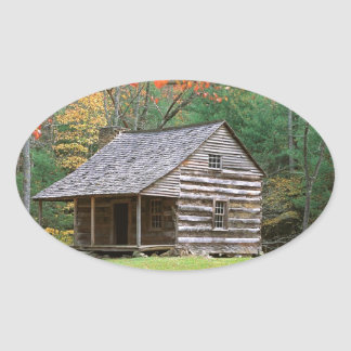 Scene Historic Log Cabin In Smoky Oval Stickers