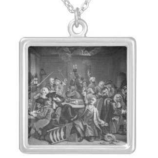 Scene in a Gaming House Silver Plated Necklace