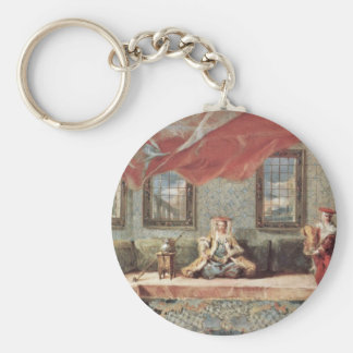 Scene In A Harem By Guardi Giovanni Antonio Basic Round Button Keychain