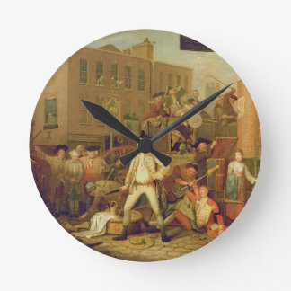 Scene in a London Street, 1770 (oil on canvas) Round Clock