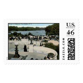 Scene in Delaware park, Buffalo NY 1915 Vintage stamp