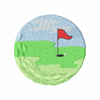 Scene In Golf Ball Embroidered Polo Shirt