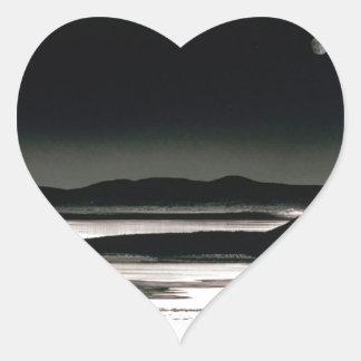 Scene Moonrise Negit Island Heart Sticker