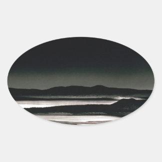 Scene Moonrise Negit Island Oval Sticker