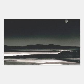 Scene Moonrise Negit Island Rectangular Sticker