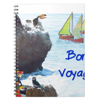 Scene of a distant place with boats and fauna notebook